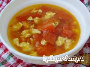 Китайский томатный суп с цветком из яйца
