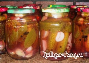 Соленые огурцы с соком красной смородины